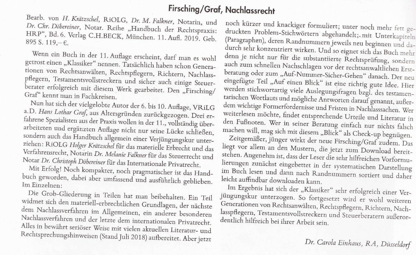 Rezension im Heft 8 der Zeitschrift für Erbrecht und Vermögensnachfolge, Jg. 2019